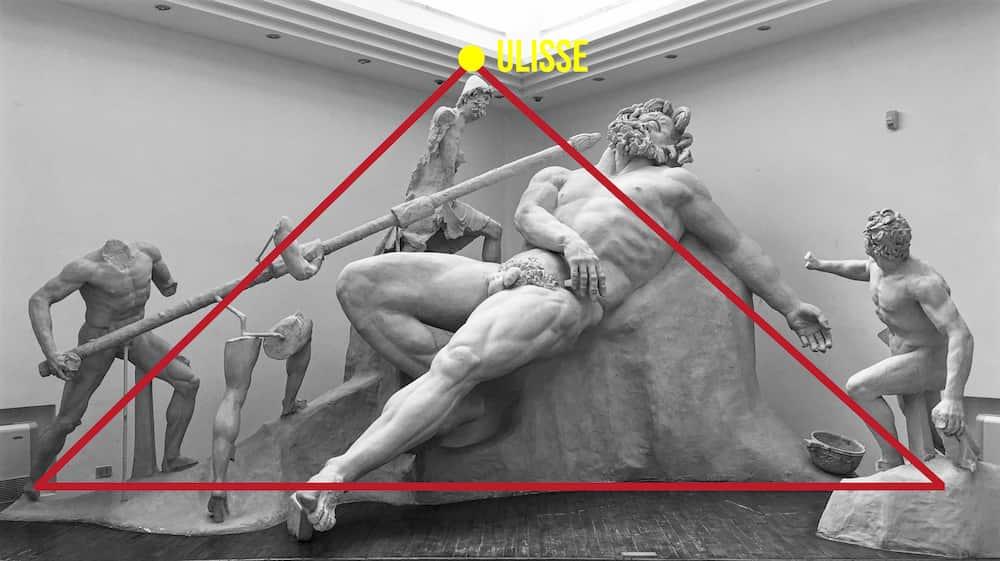 Particolare composizione piramide gruppo scultoreo Polifemo Museo Archeologico Sperlonga
